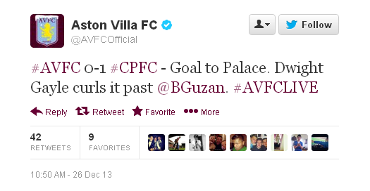 @AVFCOfficial: #AVFC 0-1 #CPFC - Goal to Palace. Dwight Gayle curls it past @BGuzan. #AVFCLIVE